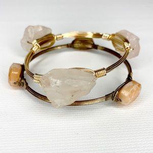 Jewelry - 2 Artisan Wire Wrap Raw Quartz & Bead Bracelets
